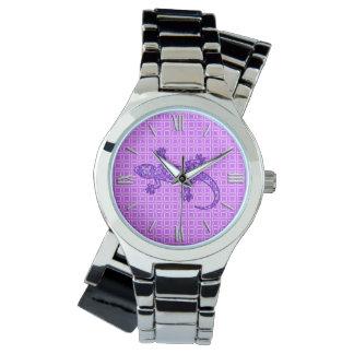 Púrpura violeta y amethyst del Gecko tribal del Reloj De Mano