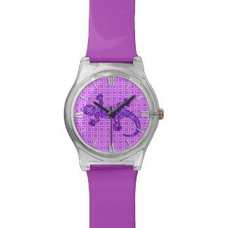 Púrpura violeta y amethyst del Gecko tribal del Reloj
