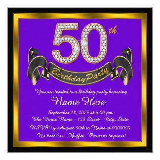 Púrpura y 50 a fiesta de cumpleaños del oro