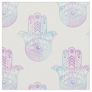 Púrpura y azul del modelo de la mano de Hamsa Telas