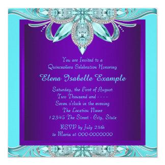Púrpura y azul Quinceanera del trullo Invitación 13,3 Cm X 13,3cm