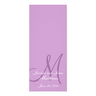 Púrpura y blanco del monograma del programa de la invitación 10,1 x 23,5 cm