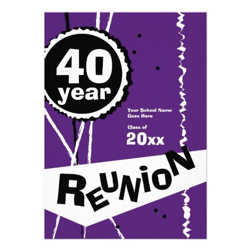 Púrpura y blanco invitación de la reunión de antig