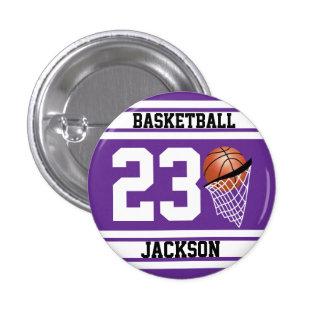Púrpura y blanco personalizados del baloncesto chapa redonda 2,5 cm