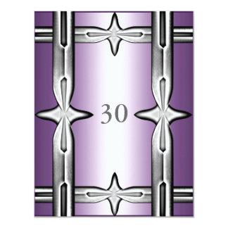 Púrpura y borde de plata del cumpleaños de la invitaciones personalizada