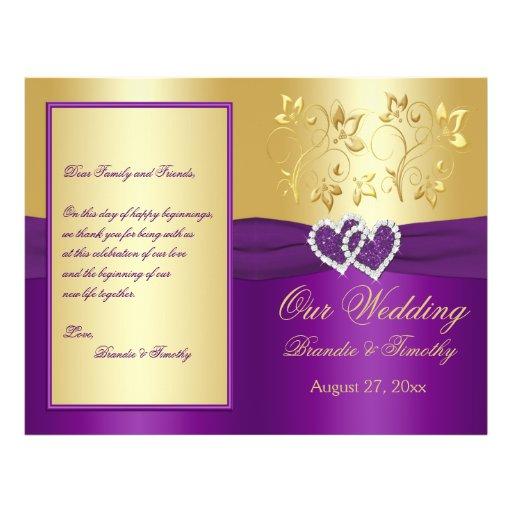 Púrpura y corazones unidos oro que casan programa folleto 21,6 x 28 cm