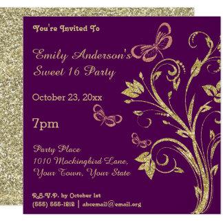 Púrpura y cumpleaños del dulce 16 de la mariposa invitación 13,3 cm x 13,3cm