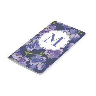 Púrpura y diario floral personalizado marina de