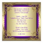 Púrpura y fiesta de aniversario del boda del oro invitación personalizada