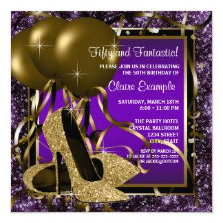 Púrpura y fiesta del cumpleaños de la mujer de los invitación 13,3 cm x 13,3cm