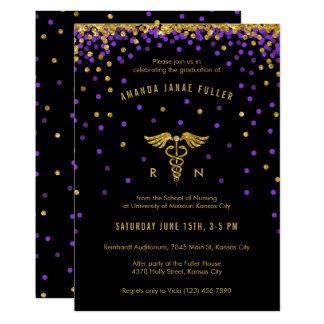 Púrpura y invitación de la graduación de la