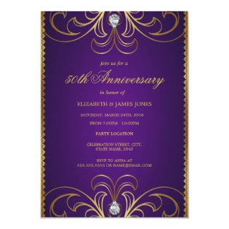 Púrpura y invitación del aniversario de boda del