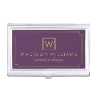 Púrpura y monograma del art déco del oro cajas de tarjetas de presentación