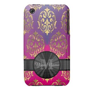 Púrpura y monograma personalizado damasco del oro iPhone 3 protectores