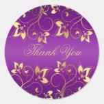 """Púrpura y oro 1,5"""" floral pegatina redondo"""