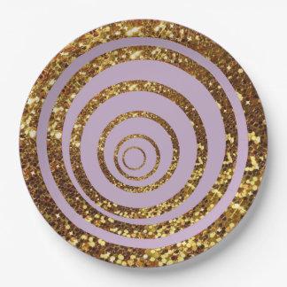 Púrpura y remolino del brillo del oro y placas del plato de papel