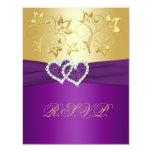 Púrpura y tarjeta de contestación floral del oro invitación 10,8 x 13,9 cm