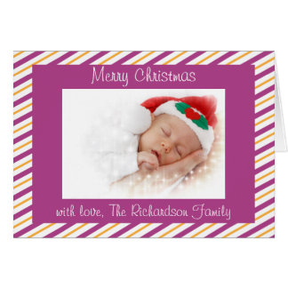 Púrpura y tarjeta de Navidad moderna de encargo de
