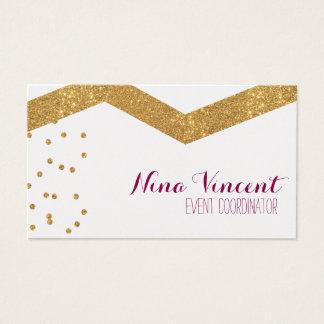 Púrpura y tarjeta de visita de Chevron del confeti
