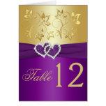 Púrpura y tarjeta floral del número de la tabla de