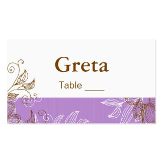 Púrpura y tarjetas florales del lugar de la tabla  tarjetas de visita
