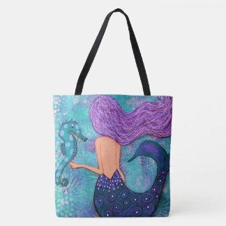 Púrpura y trullo de la bolsa de asas del Seahorse