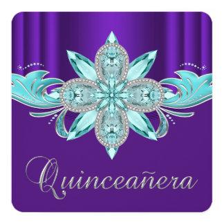 Púrpura y trullo Quinceanera Invitación 13,3 Cm X 13,3cm