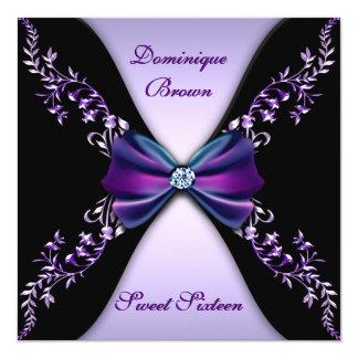 Púrpuras y negros elegantes invitan con el arco invitación 13,3 cm x 13,3cm