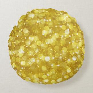 Purpurina atractivo de Bokeh del oro Cojín Redondo