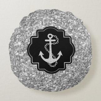 Purpurina de plata y ancla náutica del barco cojín redondo