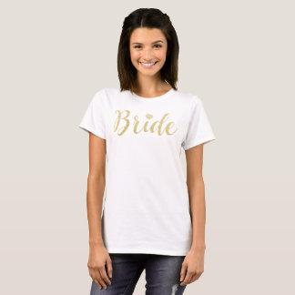 Purpurina del oro de la camiseta de la novia
