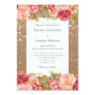 Purpurina del oro e invitación floral del boda