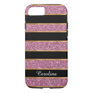 Purpurina, oro y negro rosados, personalizados con funda iPhone 7