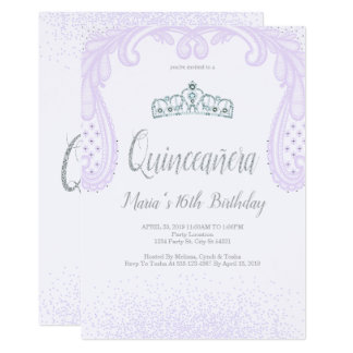 Purpurina y cordón púrpuras, invitaciones de