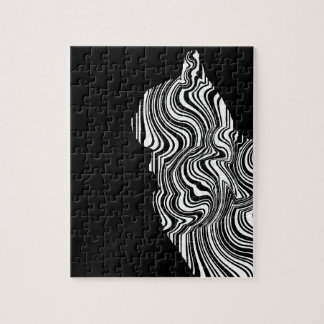 Puzzle Abstract Black and White Cat Swirl Monochroom