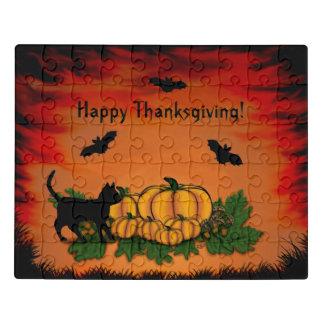 Puzzle ¡Acción de gracias feliz del otoño! Con el palo y