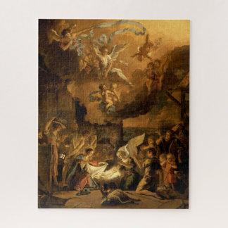 Puzzle Adoración del navidad de la bella arte de los