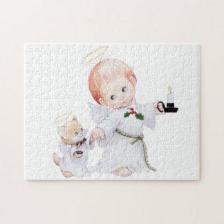 Puzzle Ángel lindo y gato del bebé