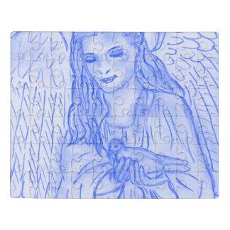 Puzzle Ángel pacífico en azul