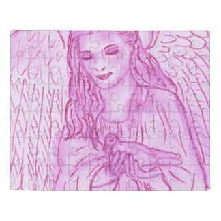 Puzzle Ángel pacífico en rosa