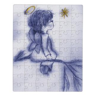 Puzzle Ángel que desea en una estrella - tinte azul