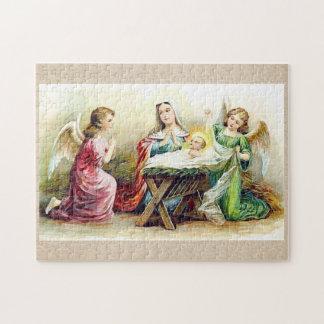 Puzzle Ángeles del vintage que rodean al bebé Jesús y