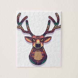 Puzzle animal de los ciervos con los cuernos