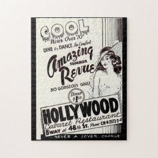 Puzzle anuncio del restaurante del cabaret de Hollywood