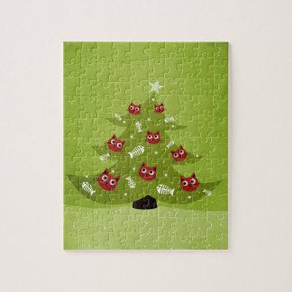 Puzzle Árbol de navidad con los ornamentos del gato y de