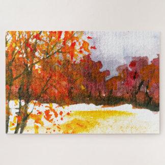 Puzzle Árboles abstractos del otoño del arte del paisaje