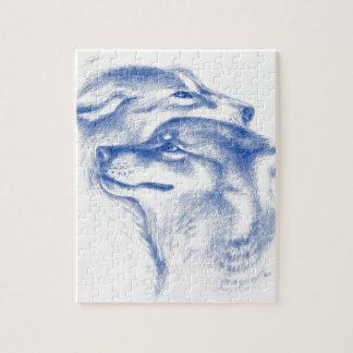 Puzzle Arte alfa del amor de los lobos