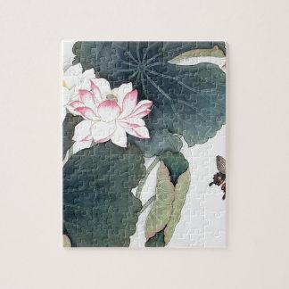 Puzzle Arte asiático de la mariposa de la flor del rosa