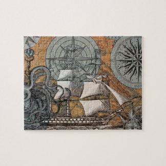 Puzzle Arte náutico de la nave del pulpo del vintage del