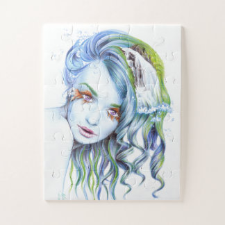 Puzzle Arte surrealista del retrato del chica de la